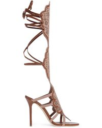 Malone Souliers | Leather and Suede Knee-High Sandals | Lyst
