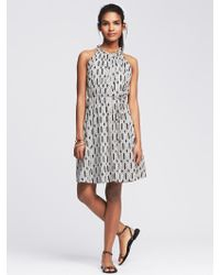 Banana Republic Geo Pleated Halter Dress - Lyst