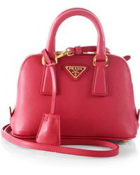 Prada Saffiano Lux Double Handle Mini Satchel - Lyst