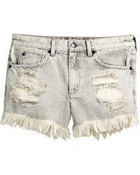 H&M Denim Shorts gray - Lyst