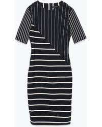Zara Striped Patchwork Tube Dress - Lyst