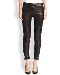 RED Valentino Leather & Knit Moto Pants - Lyst