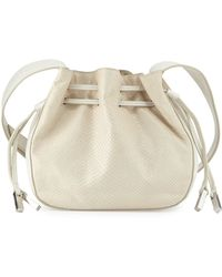 Halston Heritage | Bianca Medium Lizard-embossed Leather Bucket Bag | Lyst