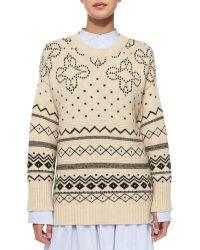 Thakoon - Crewneck Fair Isle Knit Sweater - Lyst