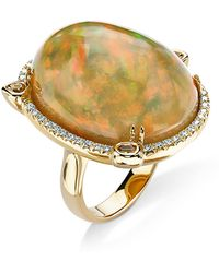 Pamela Huizenga | 18K Gold Ring With Ethiopian Opal, Fancy Yellow Diamonds, And White Diamonds | Lyst