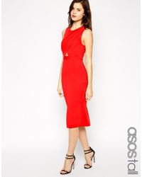 Asos Tall Pencil Dress With Cutout Front - Lyst