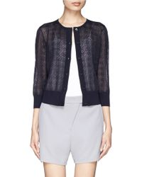 St. John Sheer Houndstooth Knit Cardigan - Lyst