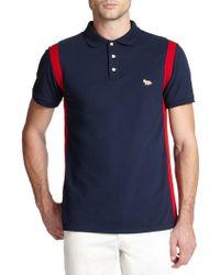 Maison Kitsuné Striped Cotton Polo Shirt - Lyst