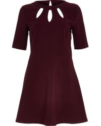 River Island Dark Red Cut Out Fit and Flare Dress - Lyst