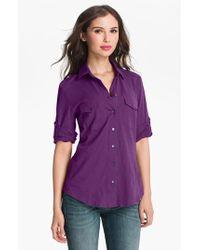 Sandra Ingrish Three Quarter Roll Sleeve Knit Shirt - Lyst