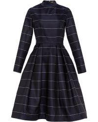 Katie Ermilio Pinstripe Mock Neck Tea Dress blue - Lyst