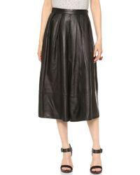 Tibi Full Leather Skirt Black - Lyst