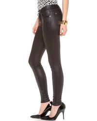 7 For All Mankind Faux Crackle Leather Skinny Pants - Black - Lyst