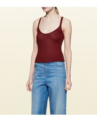 Gucci Ribbed Silk Tank Top red - Lyst