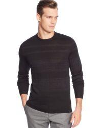 Calvin Klein Merino Wool-blend Parallel Striped Crew-neck Sweater - Lyst