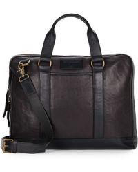 John Varvatos Milano Leather Briefcase black - Lyst