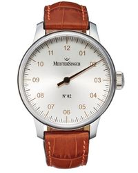 Meistersinger - 'no.02' Hand Wound Single Hand Leather Strap Watch - Lyst