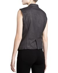 Donna Karan New York Leather Zipfront Vest - Lyst