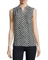 Nikkies Threads - Herringbone-print High-low Sleeveless Blouse - Lyst