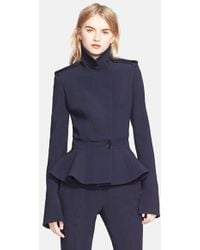 Alexander McQueen Wool Military Jacket blue - Lyst
