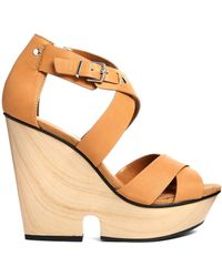 Mango - Wooden Wedge Chunky Strap Heeled Sandals - Lyst