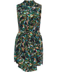 Saloni Matilda Palmier-Print Silk Dress green - Lyst
