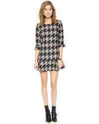 Joa Houndstooth Dress with Fluted Hem  Houndstooth - Lyst