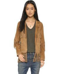 Love Sam - Suede Fringe Jacket - Brown - Lyst
