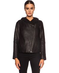 Helmut Lang Hooded Wither Lambskin Leather Jacket - Lyst