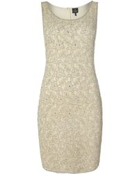 Adrianna Papell All Over Bead Sleeveless Shift Dress - Lyst