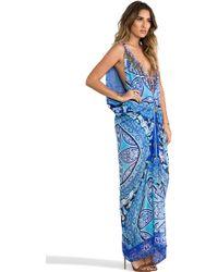 Camilla Mycenaean Long Drape Dress in Blue - Lyst