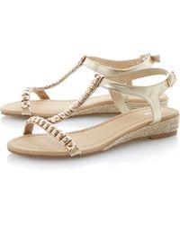 Linea Gooseberry Metal Trim Detail Wedge Sandals - Lyst