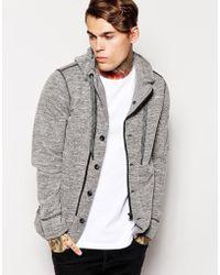 Diesel Hooded Sweat Jacket Sorbet gray - Lyst