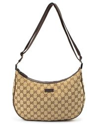 Gucci Preowned Beige Gg Canvas Shoulder Bag - Lyst
