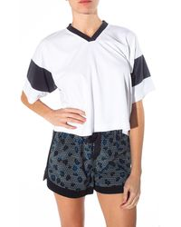T By Alexander Wang Cropped Football Jersey Tee - Lyst