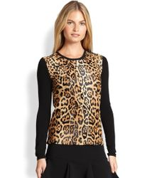 Ralph Lauren Black Label Leopardprinted Calf Hair Sweater - Lyst
