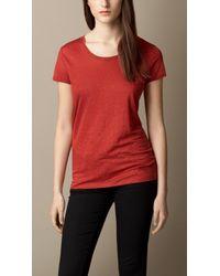 Burberry Red Linen T-Shirt - Lyst