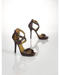 Polo Ralph Lauren Calfskin Open-Toe Sandal - Lyst
