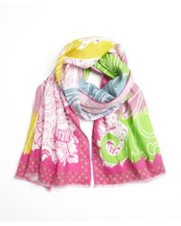 Etro Pink and Green Tidal Printed Linen Scarf - Lyst