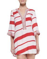 Vix Helen Striped Tunic Coverup - Lyst
