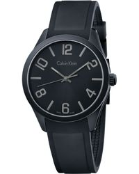 Calvin Klein Mens Swiss Black Silicone Strap Watch 40mm K5e514b1 - Lyst