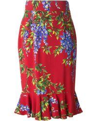 Dolce & Gabbana Wisteria Print Skirt - Lyst