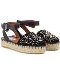 Valentino Embellished Suede And Leather Sandals - Lyst