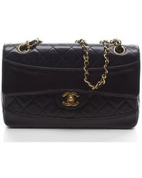 Chanel Navy Lambskin Small Flap Bag - Lyst