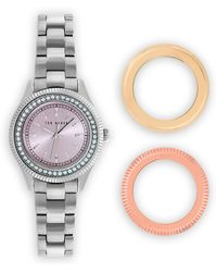 Ted Baker Stainless Steel Watch with Interchangeable Bezels 30mm - Lyst