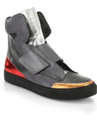 Raf Simons Mixed Media High-Top Sneakers gray - Lyst