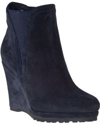 Vaneli For Jildor Jamilla Wedge Boot Navy Suede - Lyst
