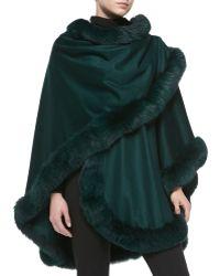 Sofia Cashmere Fox Fur-trimmed Cashmere U-cape green - Lyst