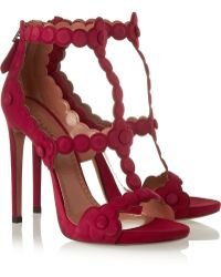 Alaïa Laser-Cut Suede Sandals red - Lyst