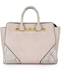 Topshop 'Winsley' Metal Bar Tote gray - Lyst